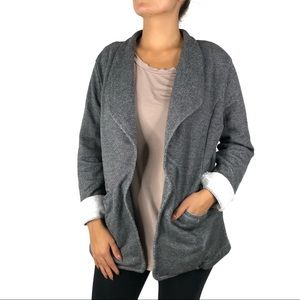 Caslon Gray Knit Soft Open Blazer Jacket Extra Lg